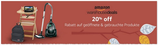 Amazon Warehouse Deals mit 20 Prozent Extra-Rabatt ab dem 19.9.2016