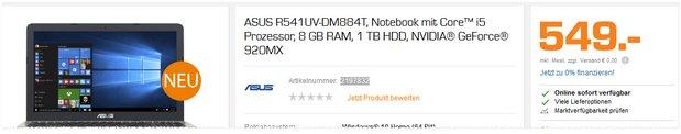 Asus Notebook R541UV-DM884T aus dem Saturn-Prospekt ab 19.12.2016 für 549 € im Angebot bis Heiligabend