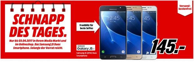 Samsung Galaxy J5 2016 Duos als Media Markt Schnapp des Tages am 3.4.2017 (Montag) für 145 €