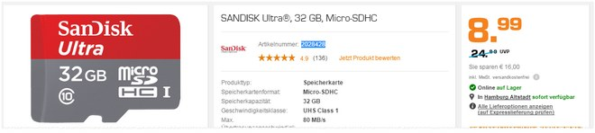 SanDisk Speicherkarte mit 32GB Speicher als Saturn-Angebot für 8,99 €