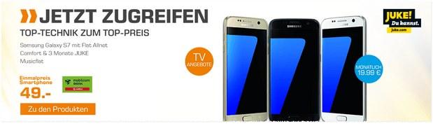 Saturn-Handyvertrag aus der TV-Werbung: Samsung Galaxy S7 für 49 € mit Vodafone Allnet-Flat (md) für 19,99 €