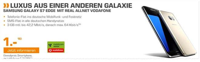 Saturn Werbung ab 18.7.2016 (Montag) mit Samsung Galaxy S7 edge Handyvertrag für 1 € Zuzahlung