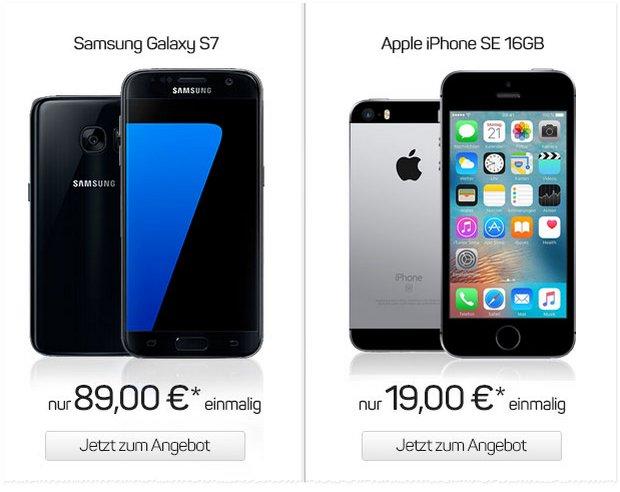 Den Lilien-Tarif von Darmstadt 98 gibt's mit Handy ab 1 € Zuzahlung - ein Topgerät wie das iPhone SE kosten 19 €, das Samsung Galaxy S7 ist für 89 € zu haben