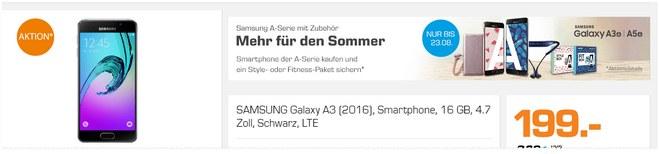 Samsung Galaxy A3 (2016) als Saturn-Angebot ab 22.8.2016 aus der TV-Werbung für 199 €