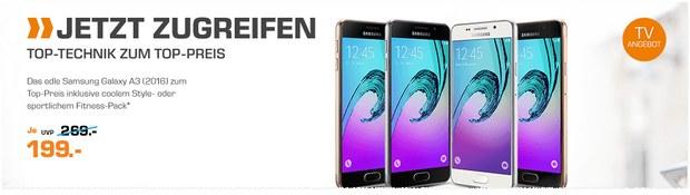 Saturn-Montagsangebot am 22.8.2016 aus der Werbung: Samsung Galaxy A3 (2016) für 199 €