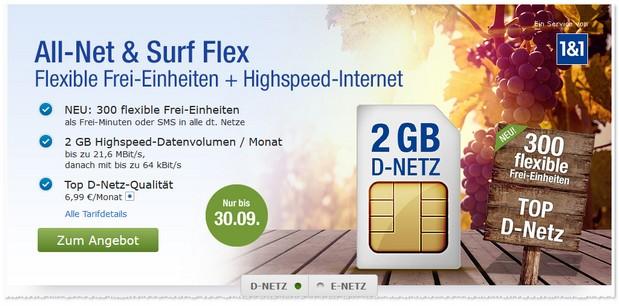 All-Net & Surf Flex Handyvertrag ist GMX.DE und WEB.DE
