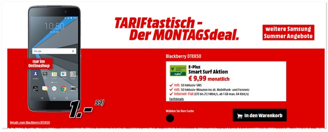 TARIFtastisch Tarif-Deal von Media Markt ab 26.9.2016