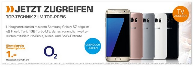 Saturn Handyvertrag mit o2 Free L + Samsung Galaxy S7 Edge