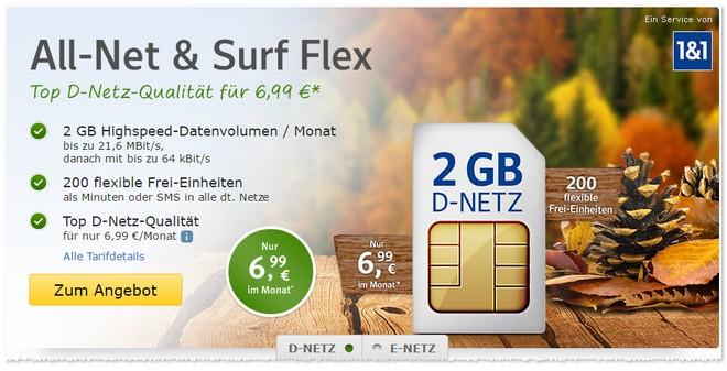 WEB.DE Handytarif Flex ab dauerhaft 6,99 Euro im Monat ab November 2016