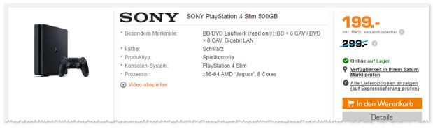 PlayStation 4 Slim für 199 € bei Saturn