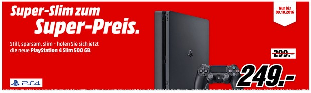 PlayStation 4 Slim (500GB) für 249 € bei Media Markt / eBay