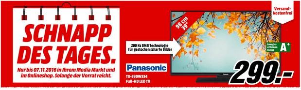 Schnapp des Tages am 7.11.2016: Montagsangebot mit Fernseher Panasonic TX-39DW334 für 299 €
