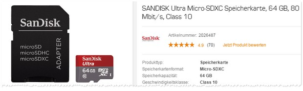 SanDisk Speicherkarte