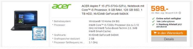 Acer Laptop Aspire F 15 (F5-573G-52PJ) als Saturn-Angebot ab 14.11.2016 für 599 €