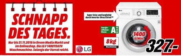 LG F14B8TDA7H Waschmaschine als Schnapp des Tages am 21.11.2016 bei Media Markt für 329 €