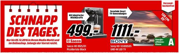 Media Markt Schnapp des Tages Werbung mit Saeco-Kaffeevollautomat für 499 € und Sony-Android-TV für 1111 €