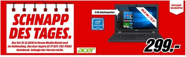 Media Markt Werbung mit Schnapp des Tages am 12.12.2016 (Montag): Acer-Laptop für 299 €