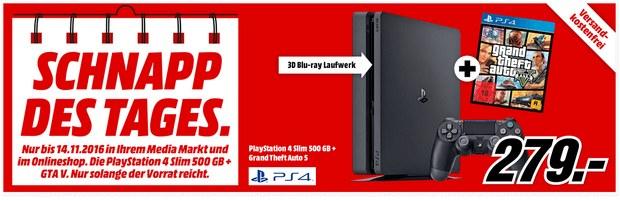 Media Markt Werbung mit Schnapp des Tages am 14.11.2016: PS4 Slim + GTA V für 279 €