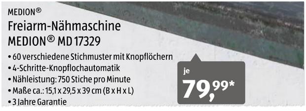 Medion Nähmaschine ALDI Nord Angebot ab 3012017 -> Nähmaschine Aldi Süd