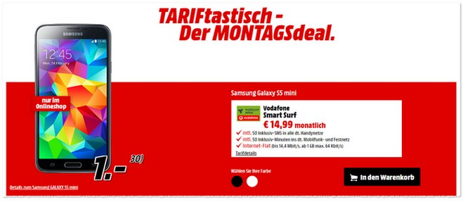 TARIFtastisch Deal ab 19.12.2016 bei Media Markt
