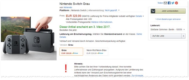 nintendo switch vorbestellen limitiert preis. Black Bedroom Furniture Sets. Home Design Ideas