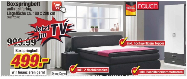 poco werbung mit wsv 2017 sale mit boxspringbett 499. Black Bedroom Furniture Sets. Home Design Ideas