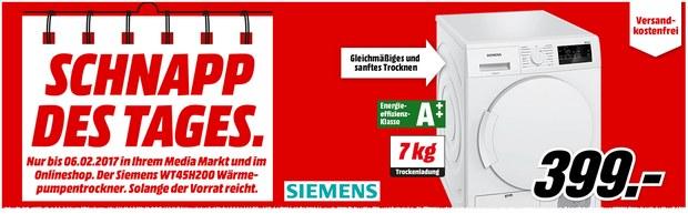 Media Markt Werbung bis 6.2.2017: Schnapp des Tages Angebot Siemens Trockner für 399 €