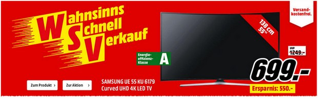 In der Media Markt Werbung für den WSV sehen wir den Samsung Fernseher mit schier unglaublicher Ersparnis