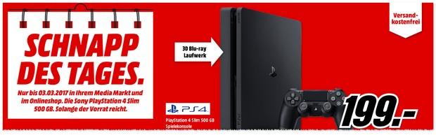 PlayStation 4 Slim 500GB für 199 € als Schnapp des Tages bis 3.3.2017