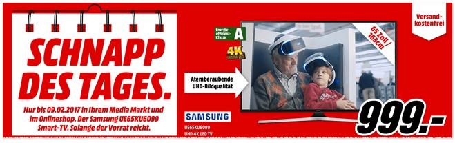 Samsung Fernseher Angebot bis zum 9.2.2017 bei Media Markt