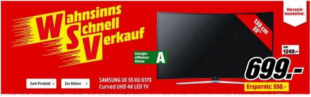 Samsung Fernseher UE 55KU6179 als Media Markt WSV Angebot für 699 € aus dem TV-Spot