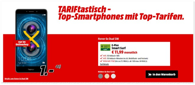 Media Markt TARIFtastisch Deal ab 13.1.2017