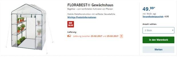 Florabest Gewächshaus als LIDL-Angebot ab 23.2.2017