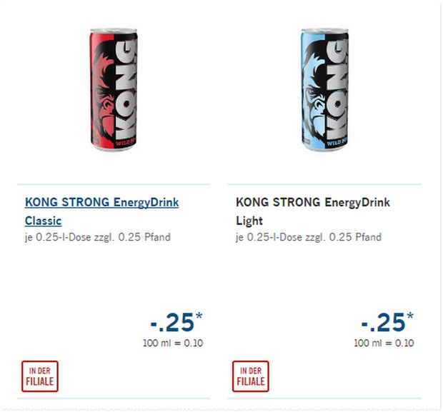 Der LIDL Energydrink Kong Strong kostet 25 Cent pro Dose zzgl. Pfand