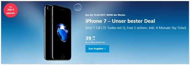 WOW der Woche bei o2 mit iPhone 7 bis 15. März 2017