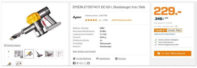 Dyson Staubsauger DC 62 Plus als Saturn Angebot