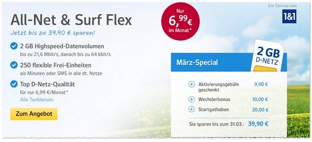 WEB.DE Handytarif - 20 Euro Startguthaben möglich