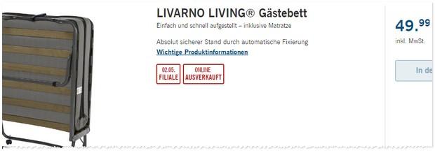 livarno living g stebett als lidl angebot ab 2 49 99 euro. Black Bedroom Furniture Sets. Home Design Ideas