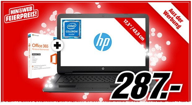 HP Notebook 17-x078ng bei Media Markt als Angebot bis 22.5.2017 für 287 €