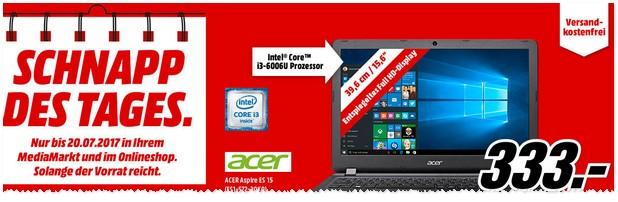 Media Markt Schnapp des Tages vom 20. Juli 2017: Acer Notebook