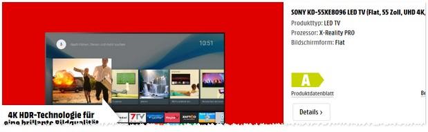 Media Markt Werbung mit Sony Fernseher