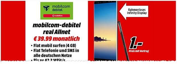 Media Markt Werbung mit Samsung Galaxy Note 8 Vertrag für nur 1 € Zuzahlung